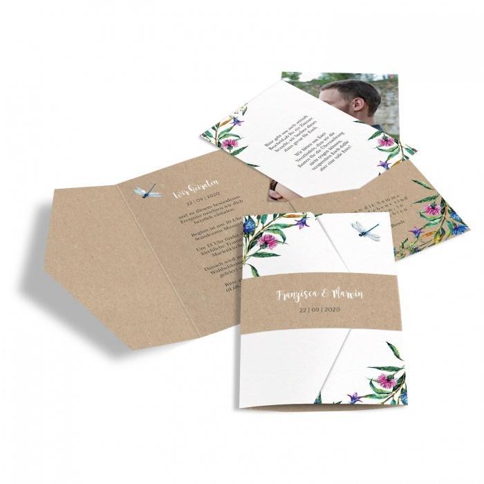 Einladung als Pocket mit traumhaften Wildblumen und Libelle