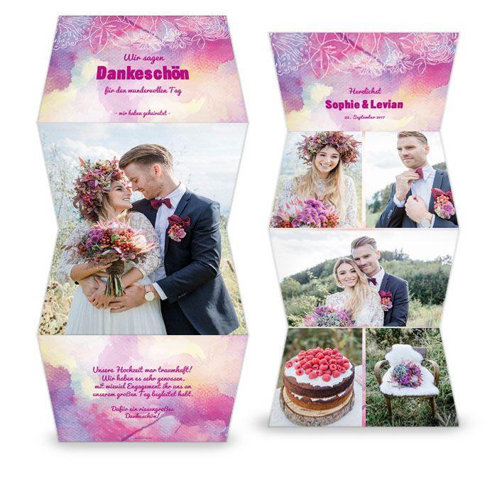 Hochzeitsdanksagung im pinken Aquarellstil als Leporello