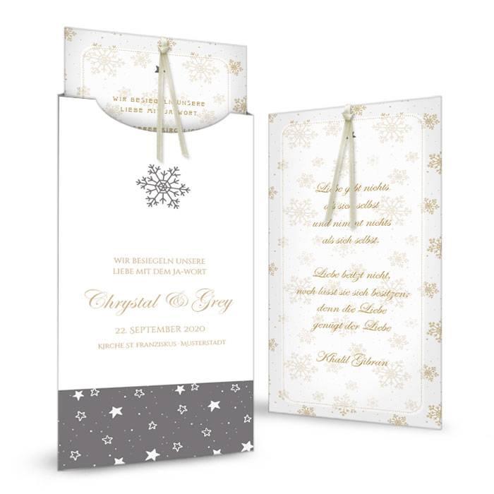 Hochzeitseinladung als Einsteckkarte mit goldenen Schneeflocken