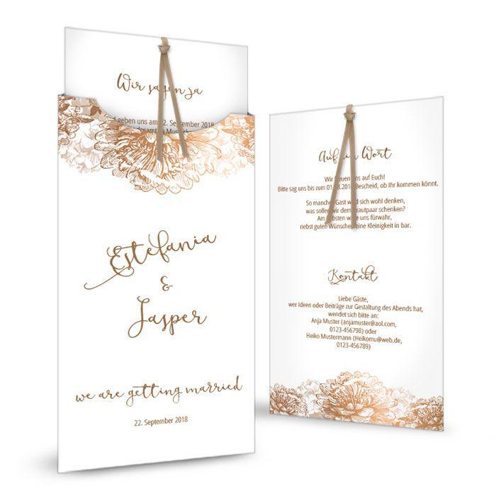 Hochzeitseinladung in Weiß und Kupfer als Einsteckkarte