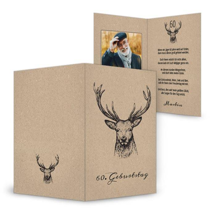Einladungskarte zum 60. Geburtstag mit Jagdmotiv