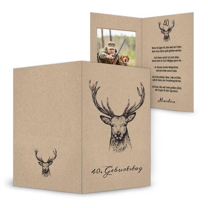 Einladungskarte zum 40. Geburtstag mit Jagdmotiv
