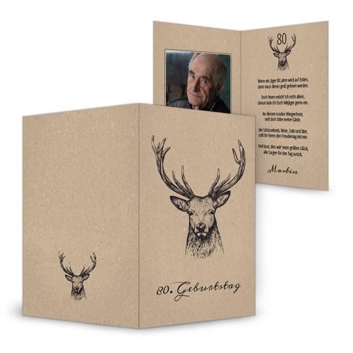 Einladungskarte mit Jagdmotiv zum 80. Geburtstag
