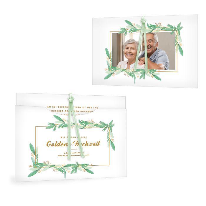 Einladung zur Goldenen Hochzeit als Einsteckkarte im Greenery Stil
