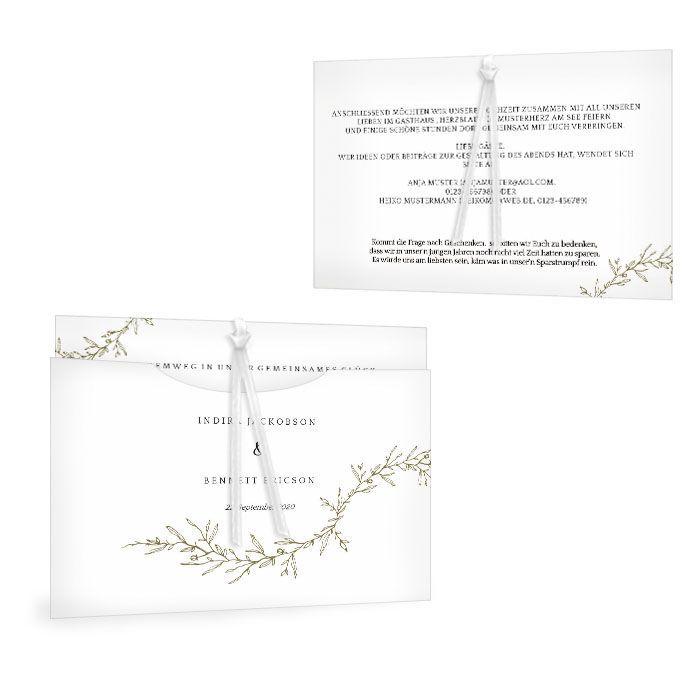 Einladung Hochzeit als Einsteckkarte im Finartstil - Indira
