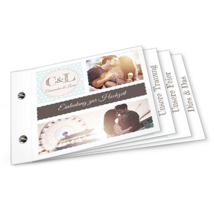 Hochzeitseinladung im Retrostil als Booklet in Mint