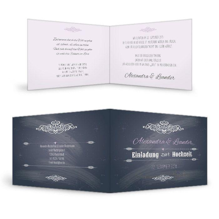 Einladung zur Vintage Hochzeit in Schieferoptik als Klappkarte