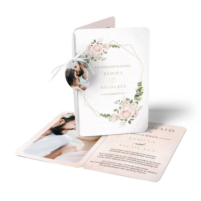 Einladung zur Hochzeit mit Aquarellrosen und Eukalyptus