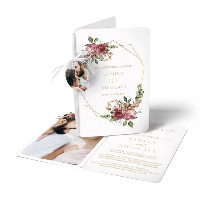 Einladung zur Hochzeit mit Aquarellrosen in Bordeaux