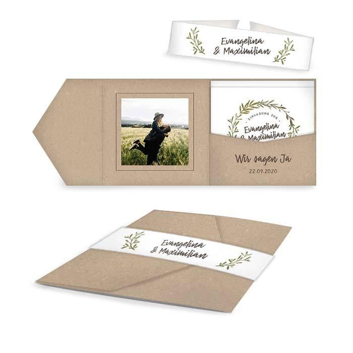 Greenery Hochzeitseinladung als Pocketfold mit Blätterkranz