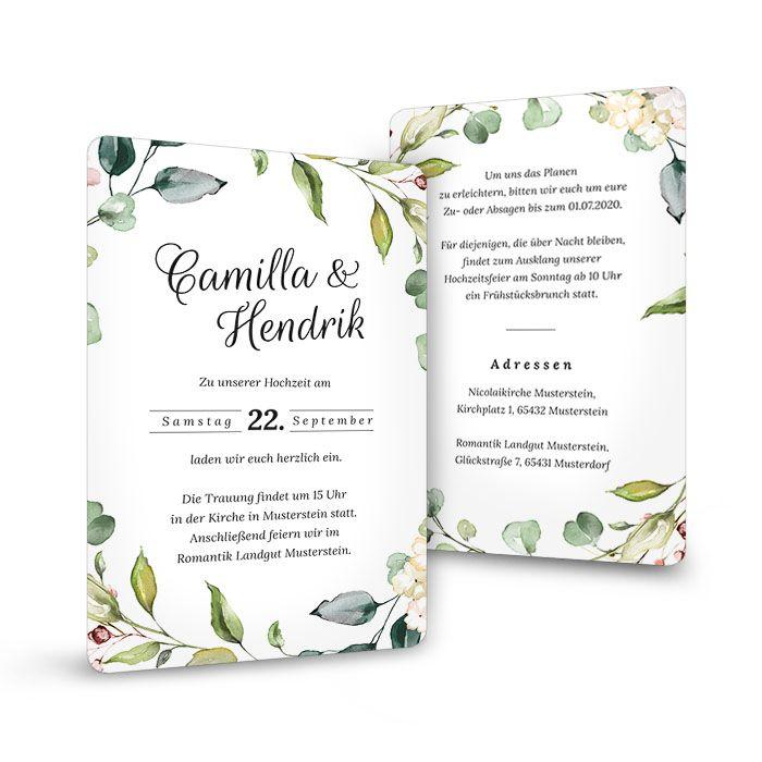 Hochzeitseinladung als Postkarte mit runden Ecken im Greenery Stil