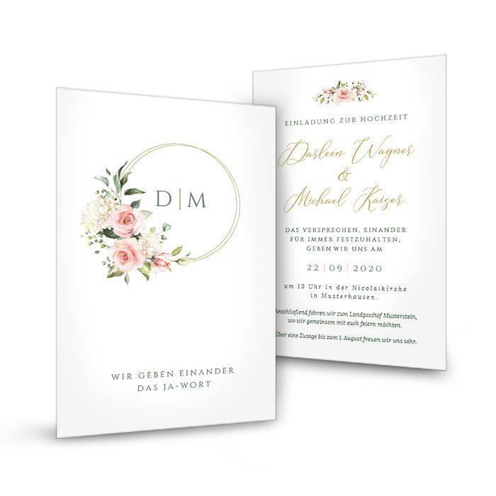 Einladung zur Hochzeit als Postkarte mit Goldreif und Blumen