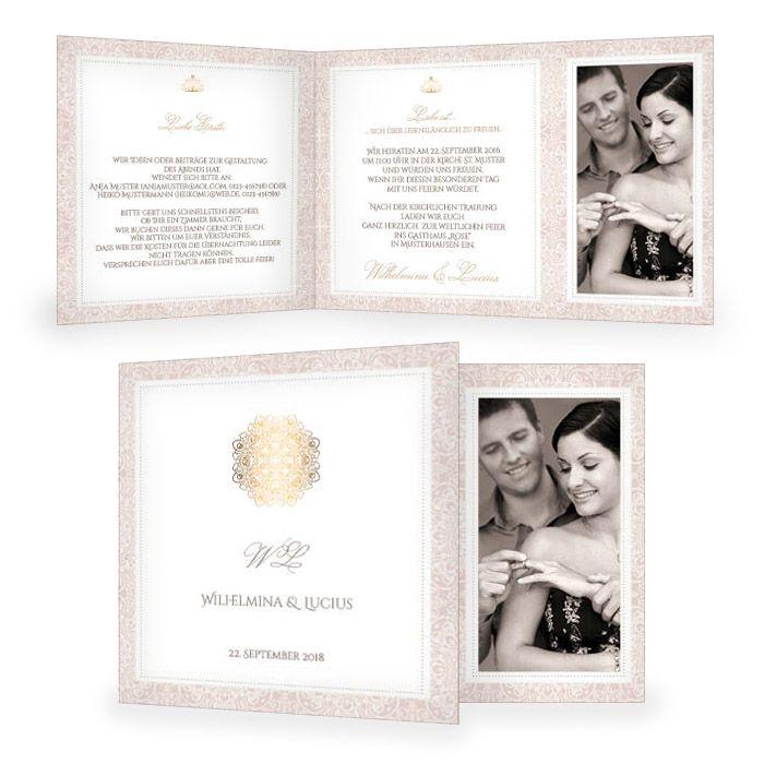 Elegante Hochzeitseinladung in Rosé mit Goldornamenten