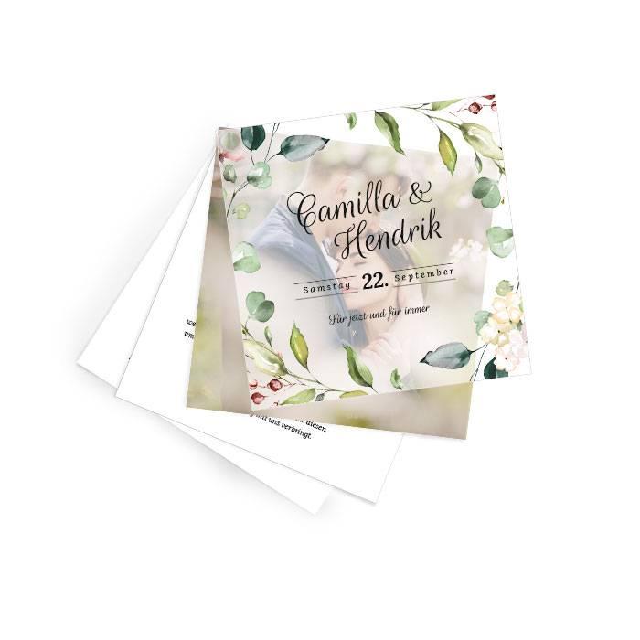 Hochzeitseinladung mit Transparentpapier und Watercolor Blumen
