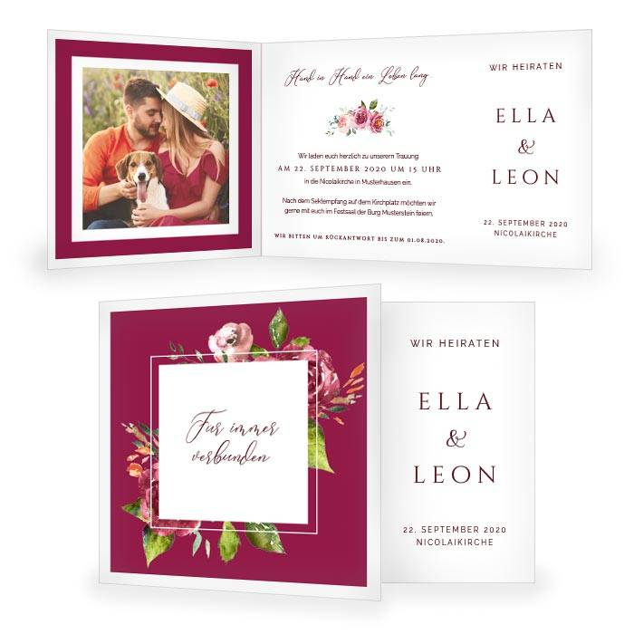 Hochzeitseinladung als Klappkarte und Watercolor Blumen in Bordeaux