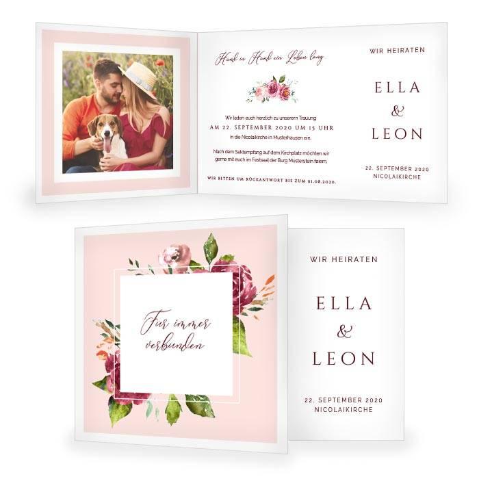 Hochzeitseinladung als Klappkarte und Watercolor Blumen in Rosa