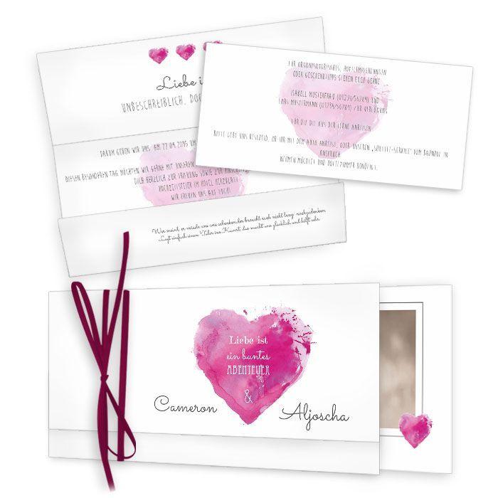 Bezaubernde Hochzeitseinladung mit Watercolor Herz in Pink