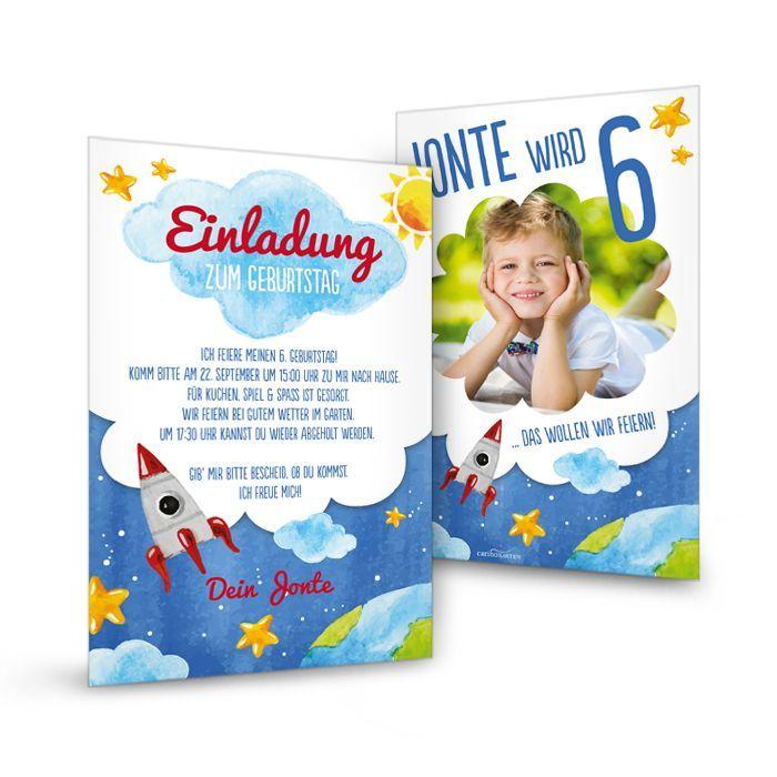 Einladungskarte mit Rakete zum Weltraum Kindergeburtstag