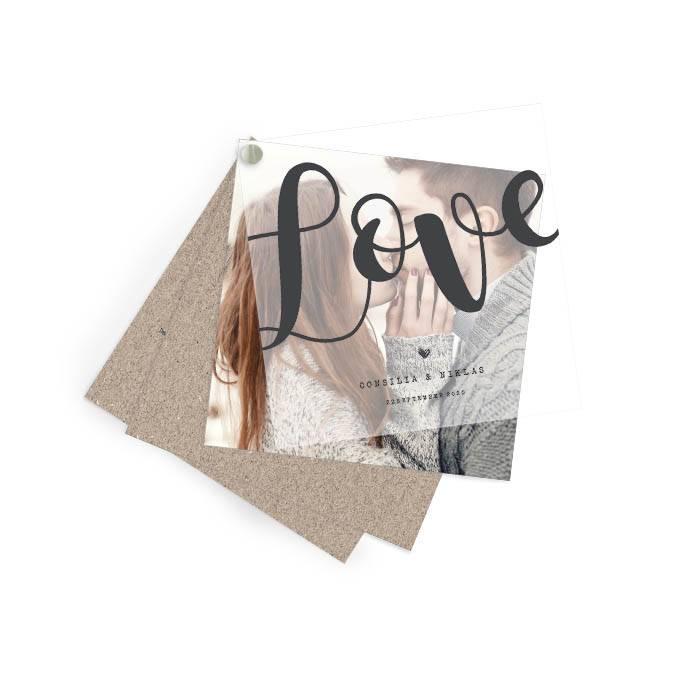 Hochzeitseinladung mit Transparentpapier als Kartenfächer