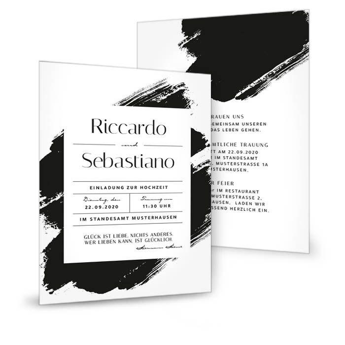 Minimalistische Hochzeitseinladung als Postkarte mit Brush