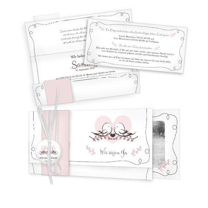 Hochzeitseinladung mit romantischem Herz und Vögeln in Rosa