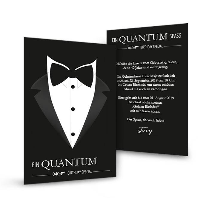 40. Geburtstag: Einladung im James Bond Stil mit Smoking