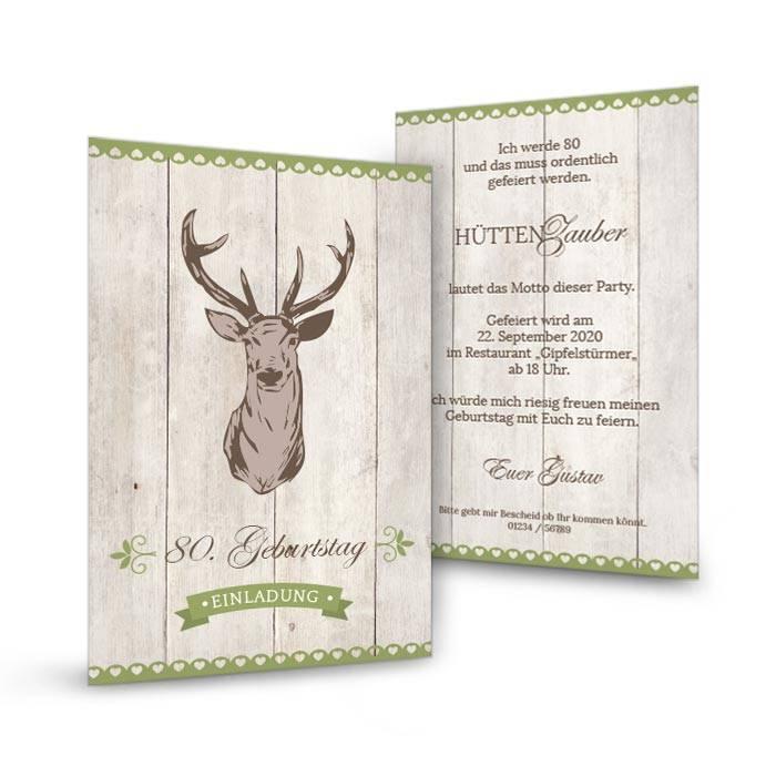 Postkarte rustikal mit Hirsch als Einladung zum 80. Geburtstag