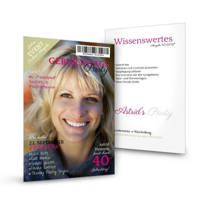 Außergewöhnliche Geburtstagseinladung als Magazin Cover