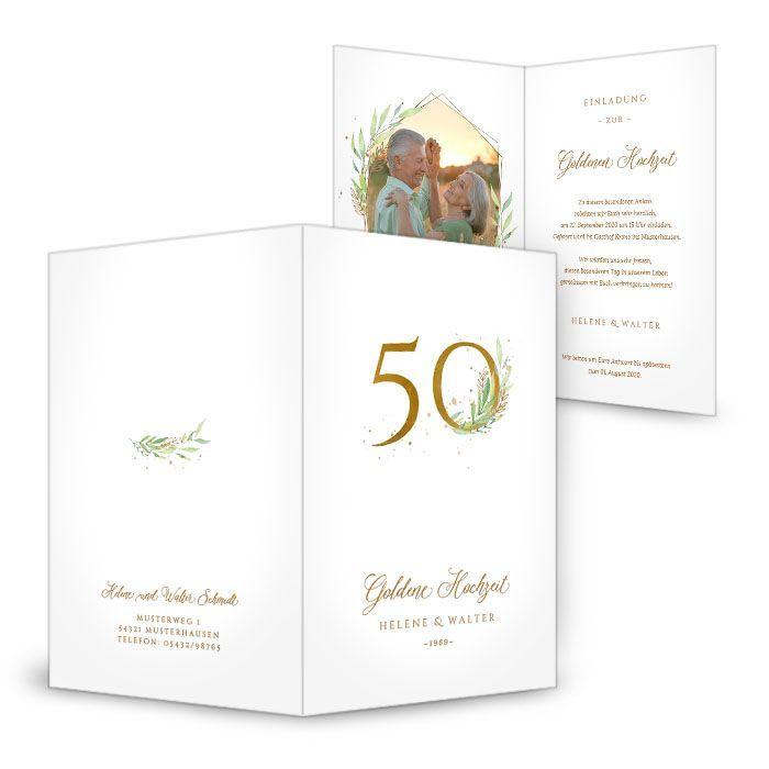 Einladungskarte zur Goldenen Hochzeit mit stilvollen Blätterranken