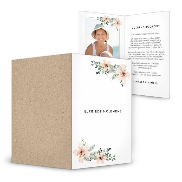 Einladung zur Goldhochzeit mit Aquarellblumen in apricot