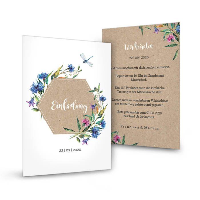 Hochzeitseinladung in Kraftpapieroptik mit Wildblumen