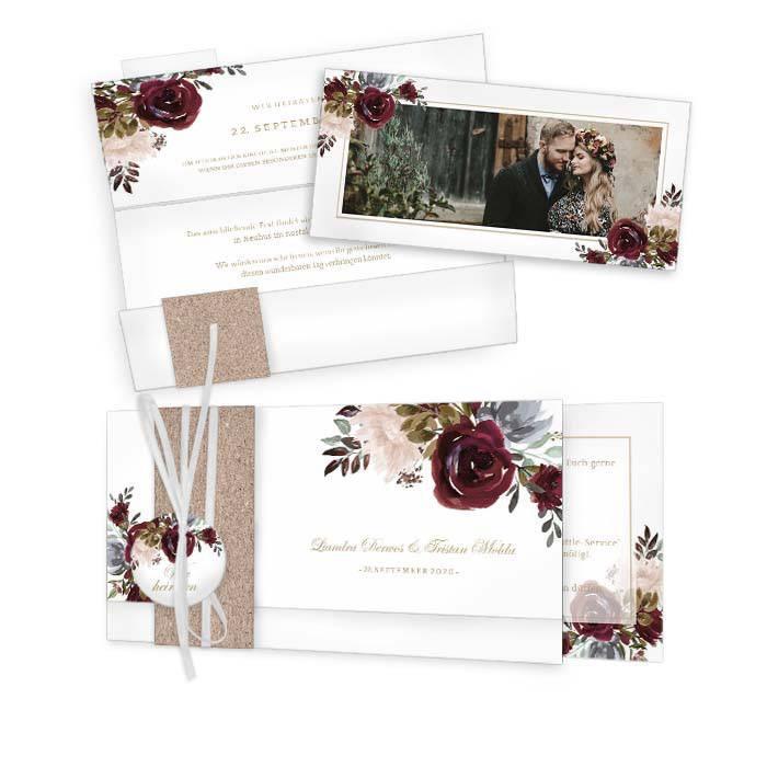Einladung zur Hochzeit mit Aquarell Rosen in Burgunder