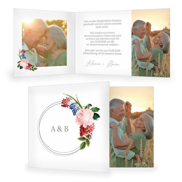 Einladung zur silbernen Hochzeit mit Reif und Rosen