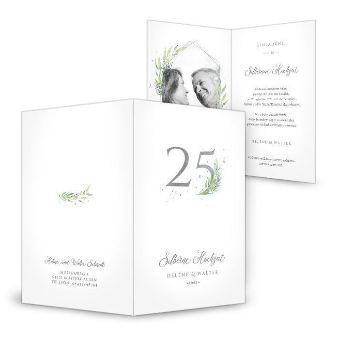 Einladungskarte zur Silbernen Hochzeit mit stilvollen Blätterranken