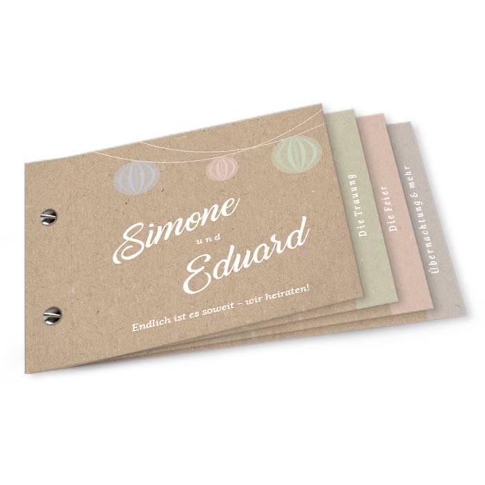 Sommerliche Hochzeitseinladung als Booklet mit Lampions