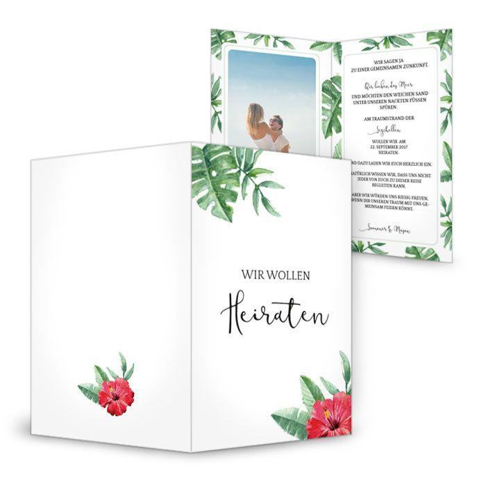 Einladung zur Hochzeit mit Lotusblume und Monsterablättern