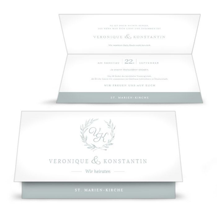 Hochzeitseinladung mit Aquarell Blätterkranz in Stonegreen