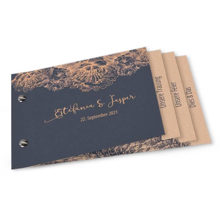 Moderne Hochzeitseinladung als Booklet mit Blüten in Kupfer