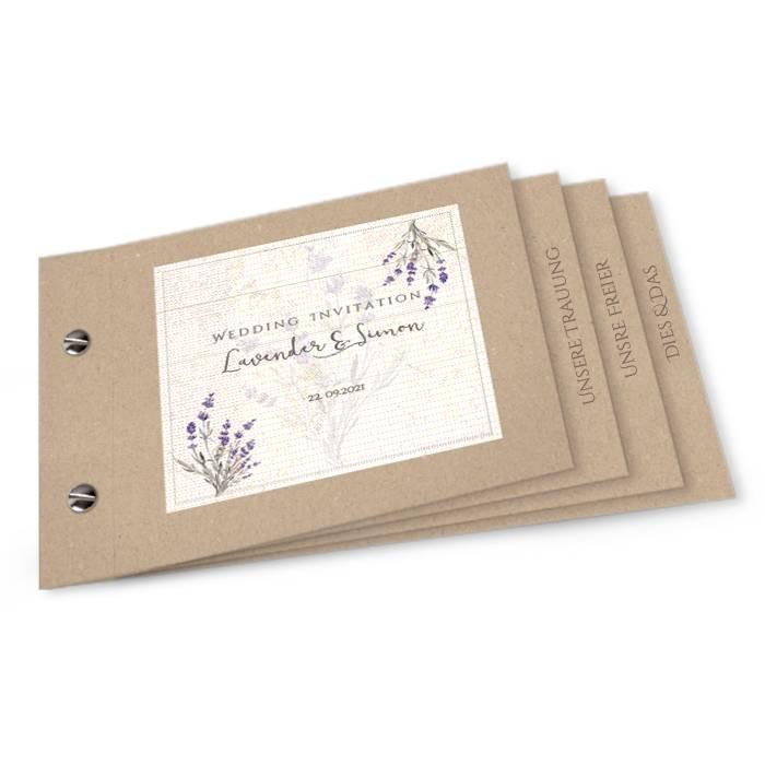 Hochzeitseinladung als Booklet im Kraftpapierstil mit Lavendel