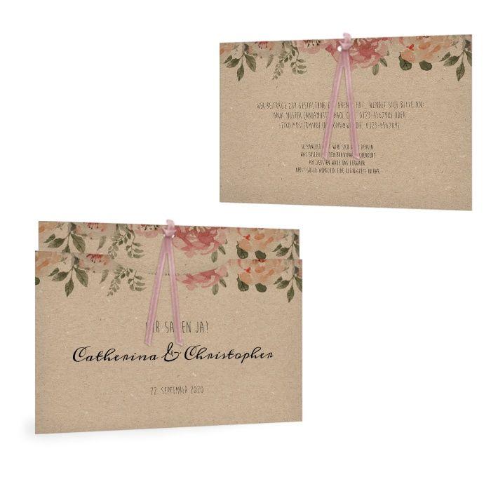 Einladungskarte als Einsteckkarte mit Aquarellblumen in Kraftpapieroptik