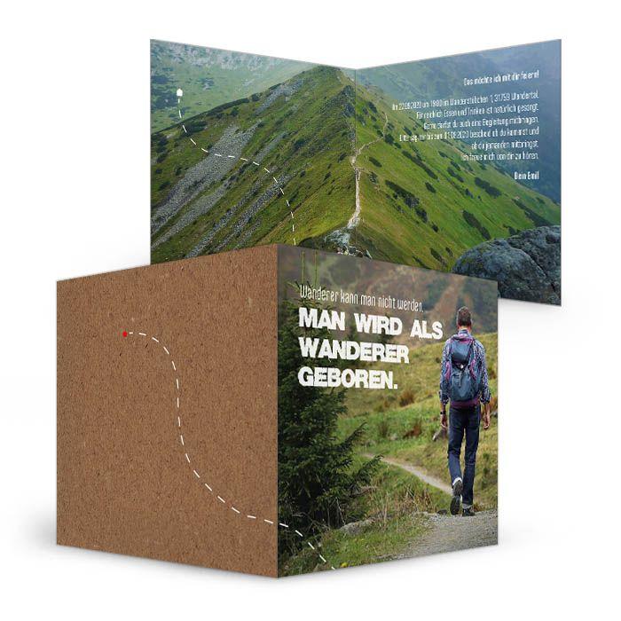 Moderne Geburtstagseinladung für Wanderer mit Bergpanorama