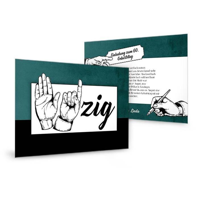 Einladungskarte zum 60. Geburtstag mit Handzeichen