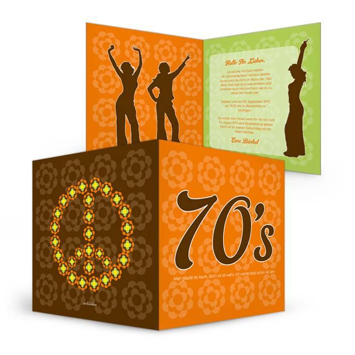 Geburtstagseinladung im 70er Hippie Stil mit Prilblumen