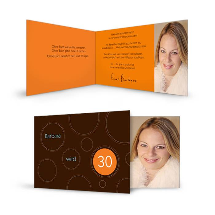 Geburtstagskarte in Braun und Orange mit Foto