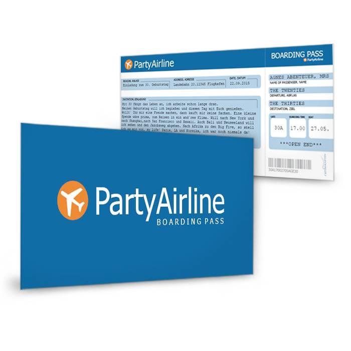 Geburtstagseinladungen als Flugticket für die Party-Airline