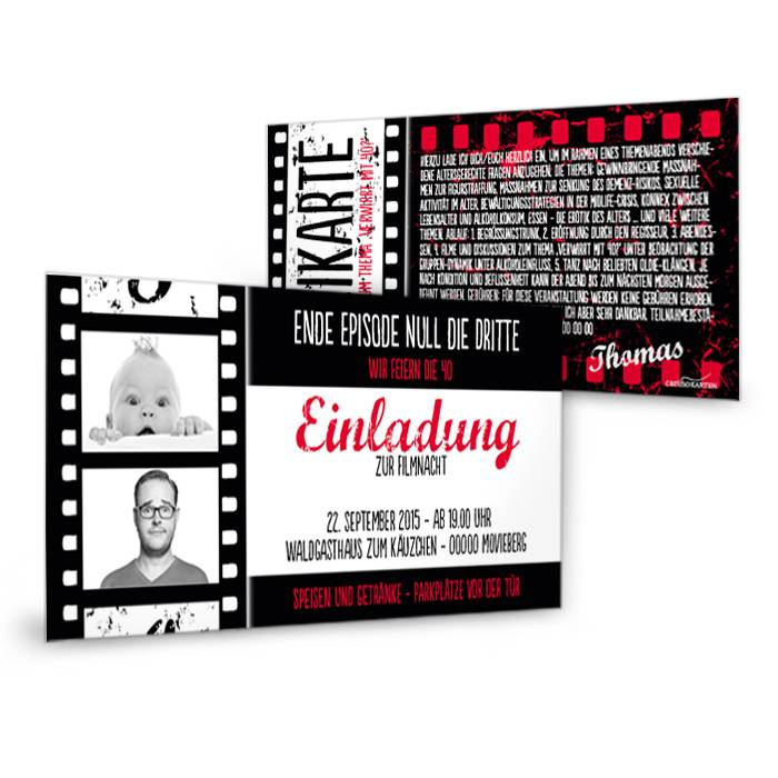 Geburtstagseinladung als Kinokarte mit Filmstreifen