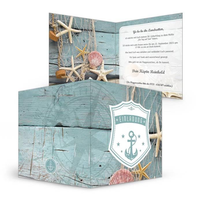 Maritime Geburtstagseinladung mit Muscheln und Anker