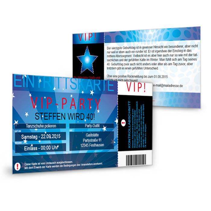 Einladungskarten als VIP Ticket zur Geburtstagsfeier gestalten