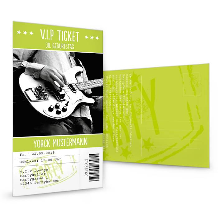 Geburtstagseinladung als Konzertkarte VIP-Ticket