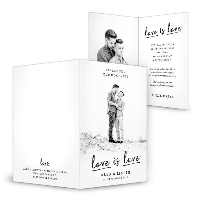 Schlichte Einladungskarte zur Gay Männer Hochzeit